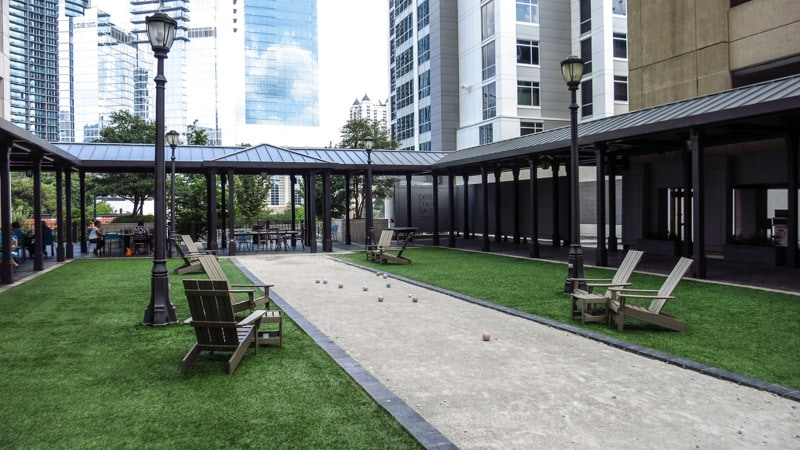 Empire State South's outdoor courtyard featuring a boccie ball court.